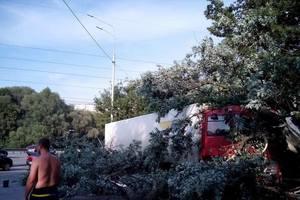 Под Киевом фура зацепила столб и пробила отбойник